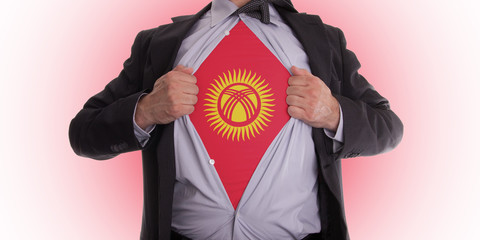 Business man with Kyrgyzstan flag t-shirt