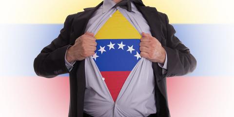Business man with Venezuela flag t-shirt