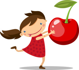 illustration of a girl with a big cherry