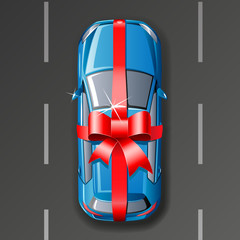 Vector car wrapped gift ribbon