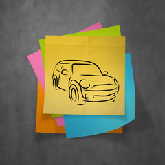 hand drawn of silhouette of car on crumpled paper with sticky no