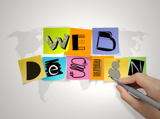hand  drawing web design on sticky note and world map background