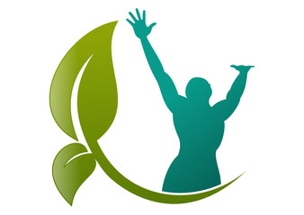 leaf natural healthy human body  mind wellness fitness logo