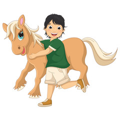Vector Illustration Of A Little Boy Hugging Pony