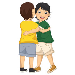 Vector Illustration Of A Little Boy Hugging Friend