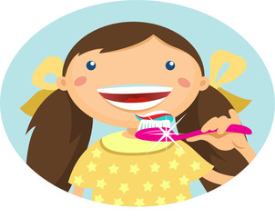 Illustration of a girl brushing her teeth