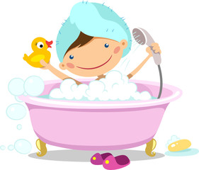 Illustration of a girl takes a bath with a rubber duck