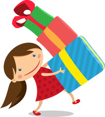 illustration girl carries a lot of gifts