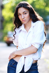 woman in jeans posing