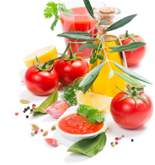 Fresh vegetables and spices for preparation of tomato sauce