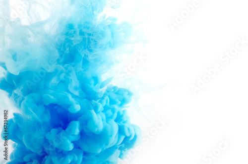 Staande foto Water planten Cloud of ink in water isolated on white