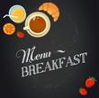 Breakfast menu drawing with chalk on blackboard