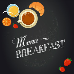 Breakfast menu drawing with chalk on blackboard