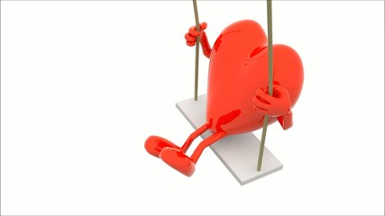 brain and heart with arms and legs on a swing, 3d animation loop