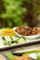 Crispy Chinese aromatic duck al fresco