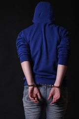 Portrait of a handcuffed