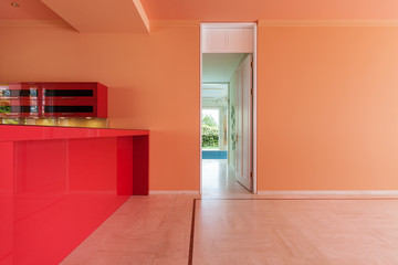 red domestic kitchen