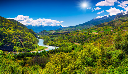 Beautiful summer landscape in the French Alps