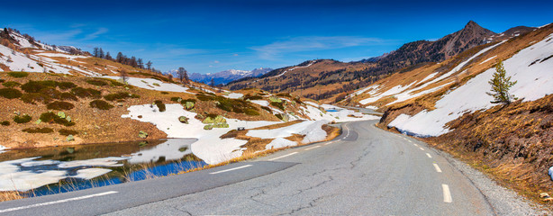 Panorama of the pass Col De Vars, Alps, France
