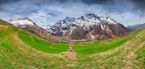 Panorama from the Le Lautaret Pass, Ecrins, France.