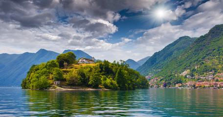 View of the island Comacina on Lake Como.