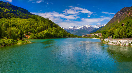 View of the lake near Villa Di Chiavenna, Alps, Italy.