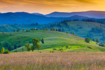 Colorful morning in the Carpathian mountains.