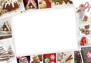 Collection of Christmas photos of confections with copy space