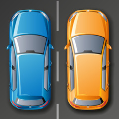 Vector cars. Top view.