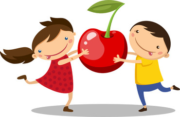 Illustration of a boy with a girl holding a cherry