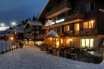 Winter chalet hotel in Switzerland