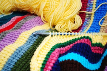 Chroceting a Colorful Striped Afghan