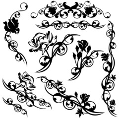 set of roses floral calligraphic design elements