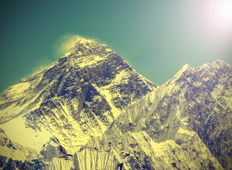 Vintage image of Everest Mountain, Nepal.