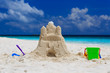 canvas print picture - Sand castle on the beach