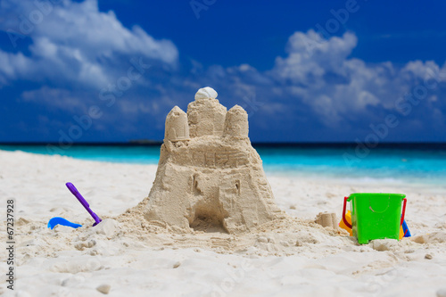 canvas print picture Sand castle on the beach