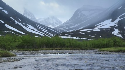 River in Arctic Lapland, early summer.