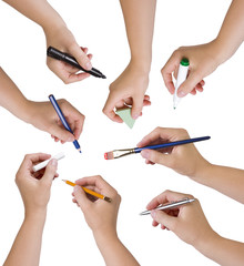 Collection of hands holding different stationary objects_