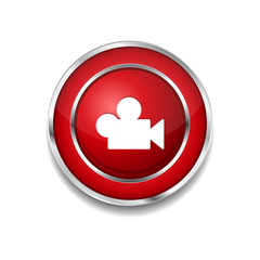 Video Circular Vector Red Web Icon Button