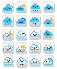 Kawaii, Manga cloud buttons, happy, sad, angry