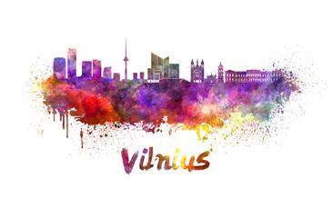 Vilnius skyline in watercolor