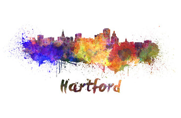 Hartford skyline in watercolor