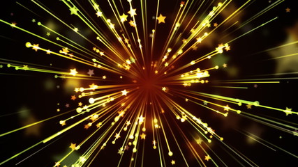 Golden Streaks and Stars Background