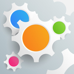 Colored Gears on Grey Background