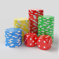 Casino chips with dices