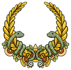 Laurel wreath, with snakes