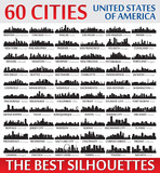 Fototapety Incredible city skyline silhouettes set. United States of Ameri