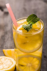 Lemonade with fresh lemon and mint