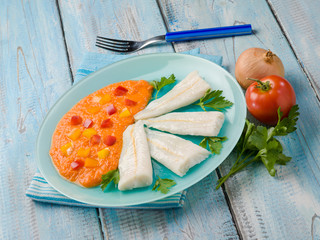 steamed cod with capsicum cream