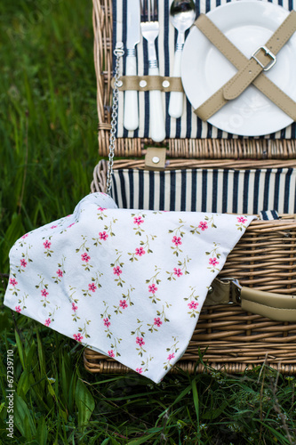 Deurstickers Picknick picnic basket stock photo